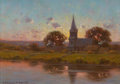 Fine Art - Painting, American:Modern  (1900 1949)  , HIRAM PEABODY FLAGG (American, 1859-1937). Sunset over theChurch Steeple, 1923. Oil on canvas laid on board. 5-3/4 x 8...