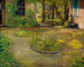 Fine Art - Painting, American:Modern  (1900 1949)  , HEINRICH HERMAN PFEIFFER (American, 1874-1960). The GardenCourtyard. Oil on canvas. 16 x 20 inches (40.6 x 50.8 cm).Si...