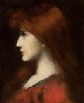 Fine Art - Painting, European:Antique  (Pre 1900), Attributed to JEAN JACQUES HENNER (French, 1829-1905). RedHaired Woman in Profile. Oil on board. 10-5/8 x 8-1/2 inches...