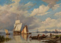 Fine Art - Painting, European:Antique  (Pre 1900), Attributed to HENDRIK BAREND KOEKKOEK (Dutch, 1849-1895). AQuiet Harbor. Oil on board. 12 x 16 inches (30.5 x 40.6 cm)...