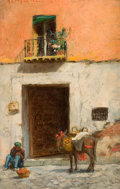Fine Art - Painting, American:Modern  (1900 1949)  , ADDISON THOMAS MILLAR (American, 1850-1913). Building inMadrid, 19?0. Oil on panel. 8 x 5 inches (20.3 x 12.7 cm).Sign...
