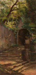 Paintings, CARL-AUGUST LEBSCHE (German, 1800-1877). Sun-Dappled Steps. Oil on panel. 7-1/2 x 3-1/2 inches (19.1 x 8.9 cm). ...