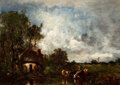 Paintings, LÉON VICTOR DUPRÉ (French, 1816-1879). Cattle Watering, circa 1874. Oil on panel. 17-3/4 x 24 inches (45.1 x 61.0 cm). ...