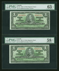 Canadian Currency: , BC-21c $1 1937 Two Consecutive Examples. ... (Total: 2 notes)