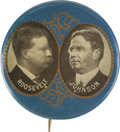 "Political:Pinback Buttons (1896-present), Roosevelt & Johnson: Rare 1¾"" Jugate Button...."