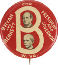 Political:Pinback Buttons (1896-present), Bryan & Bennett: Mint Example of this Popular West Virginia Coat-tail....