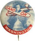 "Political:Pinback Buttons (1896-present), Alf Landon: Colorful ""Land-On Washington"" Classic...."