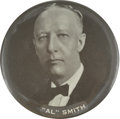 """Political:Pinback Buttons (1896-present), Al Smith: Extremely Rare 3½"""" Celluloid Pinback...."""
