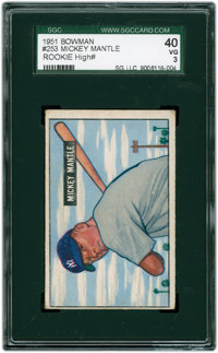 1951 Bowman Mickey Mantle #253 SGC 40 VG 3