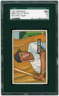 1951 Bowman Willie Mays #305 SGC 60 EX 5