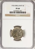 Proof Buffalo Nickels: , 1936 5C Type Two--Brilliant Finish PR64 NGC. NGC Census: (85/402).PCGS Population (165/652). Mintage: 4,420. Numismedia Ws...