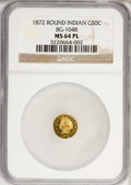 California Fractional Gold: , 1872 50C Indian Round 50 Cents, BG-1048, Low R.4, MS64 ProoflikeNGC. NGC Census: (2/2). (#710877)...