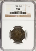 Proof Barber Quarters: , 1907 25C PR62 NGC. NGC Census: (10/170). PCGS Population (20/124).Mintage: 575. Numismedia Wsl. Price for NGC/PCGS coin in...