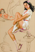 Pin-up and Glamour Art, KNUTE O. MUNSON (American, 20th Century). Pin-Up on Skates,Artist's Sketch Pad, calendar illustration. Pastel on board...