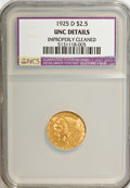 1925-D $2 1/2 --Improperly Cleaned--NCS. UNC Details. NGC Census: (0/0). PCGS Population (0/0). Mintage: 578,000. (#7949...