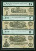 Confederate Notes:1862 Issues, T39 $100 1862. Three Examples.. ... (Total: 3 notes)
