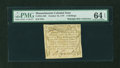 Colonial Notes:Massachusetts, Massachusetts October 16, 1778 3s PMG Choice Uncirculated 64 EPQ....