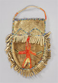 American Indian Art:Beadwork and Quillwork, A SIOUX QUILLED HIDE POUCH. c. 1880...