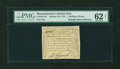 Colonial Notes:Massachusetts, Massachusetts October 16, 1778 1s6d PMG Uncirculated 62 NET....