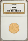 Liberty Half Eagles: , 1888-S $5 AU58 NGC. NGC Census: (104/66). PCGS Population (25/39).Mintage: 293,900. Numismedia Wsl. Price for NGC/PCGS coi...