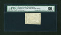 Colonial Notes:Pennsylvania, Pennsylvania August 6, 1789 Bank of North America 1d PMG GemUncirculated 66 EPQ....