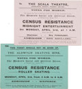 Political:Small Paper (1896-present), Woman's Suffrage: Two WSPU Census Resistance Tickets.... (Total: 2 Items)