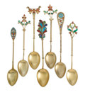 Silver Flatware, American:Other , A GROUP OF SEVEN AMERICAN SILVER GILT AND PLIQUE À JOURCOFFEE SPOONS. Various American makers, circa 1895. 4-1/... (Total:7 Items)