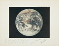 Autographs:Celebrities, Apollo 17 Large Color Photo of Earth Taken by and Directly from thePersonal Collection of Mission Command Module Pilot Ron Ev...