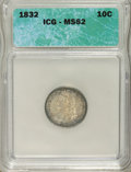 Bust Dimes: , 1832 10C MS62 ICG. NGC Census: (42/87). PCGS Population (26/81).Mintage: 522,500. Numismedia Wsl. Price for NGC/PCGS coin ...