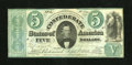 "Confederate Notes:1861 Issues, T33 $5 1861. This Fine-Very Fine example has a pencilled ""36"" on the back plus a couple of small repairs. This is a toug..."