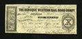 Obsoletes By State:Iowa, Dubuque, IA- Dubuque Western Rail Road Compy. $10 Feb. 2, 1858. Acouple of pinholes are noticed. About Uncirculatd....