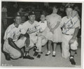 Autographs:Photos, 1960's Curt Flood, Ken Boyer & Red Schoendienst SignedPhotograph. Two lucky youngsters pose with three superstar St.Louis...