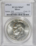 Eisenhower Dollars: , 1976-S $1 Silver MS67 PCGS. PCGS Population (2200/318). NGC Census: (333/63). Mintage: 11,000,000. Numismedia Wsl. Price fo...