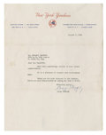 Autographs:Index Cards, 1959 Casey Stengel Signed Typed Letter. Typed note on New York Yankees letterhead has been signed by the team's boss. Casey...