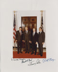 "Autographs:U.S. Presidents, Presidential Photograph Signed by Richard Nixon, Gerald Ford, Jimmy Carter and Ronald Reagan. Undated color 8"" x 10"" print s..."