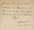 "Autographs:U.S. Presidents, James Monroe Federal Road Construction Contract Signed aspresident. Two and one-quarter folio pages, 11"" x 18"", ca.181..."