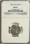 Jefferson Nickels, 1942-P 5C Silver MS67 NGC. NGC Census: (1817/2). PCGS Population(106/0). Mintage: 57,900,600. Numismedia Wsl. Price for NG...