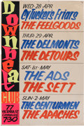 Music Memorabilia:Posters, Downbeat Club Hand-Lettered Concert Poster (1965)....