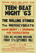Music Memorabilia:Posters, Rolling Stones Teen Beat '63 Floral Hall Ballroom Concert Poster(1963)....