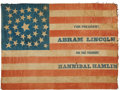 Political:Textile Display (pre-1896), Abraham Lincoln: The Largest 1860 Lincoln & Hamlin Name Flag WeHave Ever Encountered....