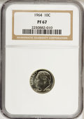 Proof Roosevelt Dimes: , 1964 10C PR67 NGC. NGC Census: (504/1291). PCGS Population(322/1282). Mintage: 3,950,762. Numismedia Wsl. Price for NGC/PC...