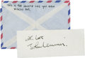 Music Memorabilia:Autographs and Signed Items, Beatles Related - John Lennon Autograph Cut and Signed Envelope....(Total: 2 )