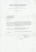 Movie/TV Memorabilia:Autographs and Signed Items, Ernie Kovacs Signed Letter....
