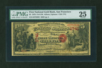 San Francisco, CA - $5 Original National Gold Bank Note Fr. 1136 The First National Gold Bank Ch. # 1741