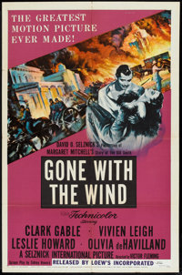 """Gone with the Wind (Loews, R-1954). One Sheet (27"""" X 41""""). Romance"""