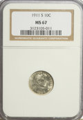 Barber Dimes: , 1911-S 10C MS67 NGC. NGC Census: (5/1). PCGS Population (8/0).Mintage: 3,520,000. Numismedia Wsl. Price for NGC/PCGS coin ...