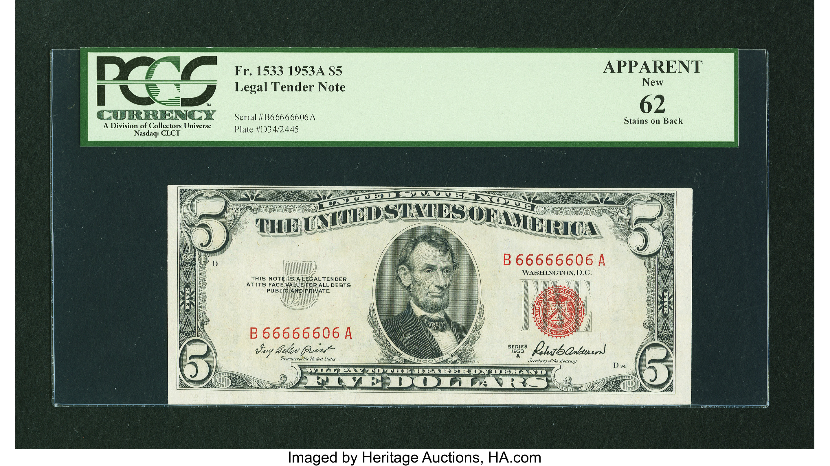 Fr  1533 $5 1953A Legal Tender Note  Fancy Serial Number  Apparent