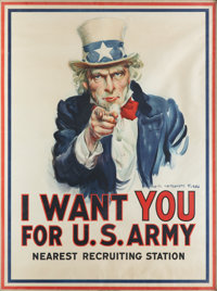 """I Want You for U.S. Army"" World War I Uncle Sam Patriotic Poster by James Montgomery Flagg, 1917"