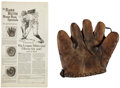 Baseball Collectibles:Others, 1927 Babe Ruth Glove Advertisement and Vintage Glove. ... (Total: 2items)