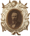 Political:Ferrotypes / Photo Badges (pre-1896), Rutherford B. Hayes: Fancy 1876 Ferrotype Pin in SpectacularCondition....